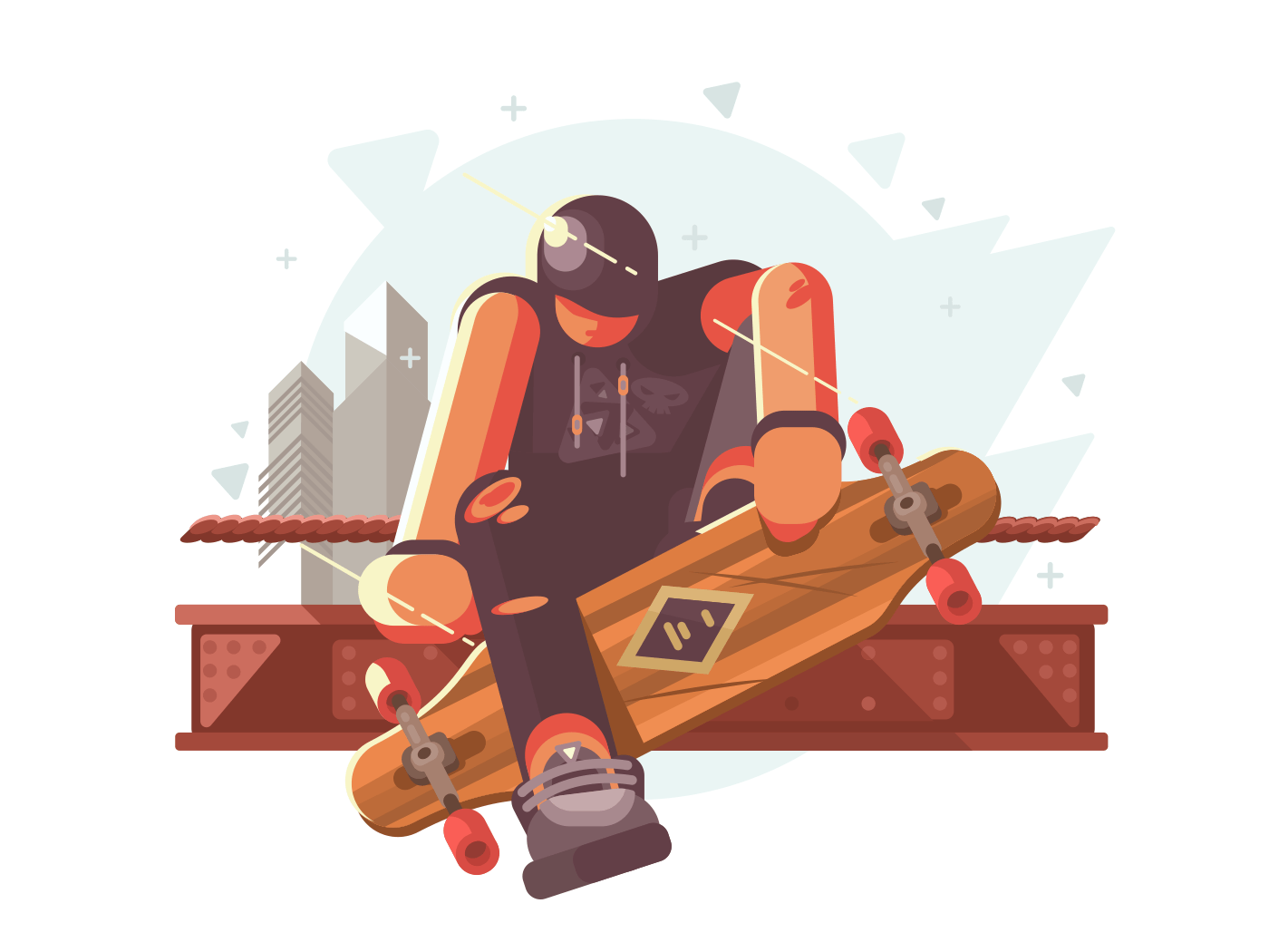 Young fashionable guy with long board in city. Vector illustration