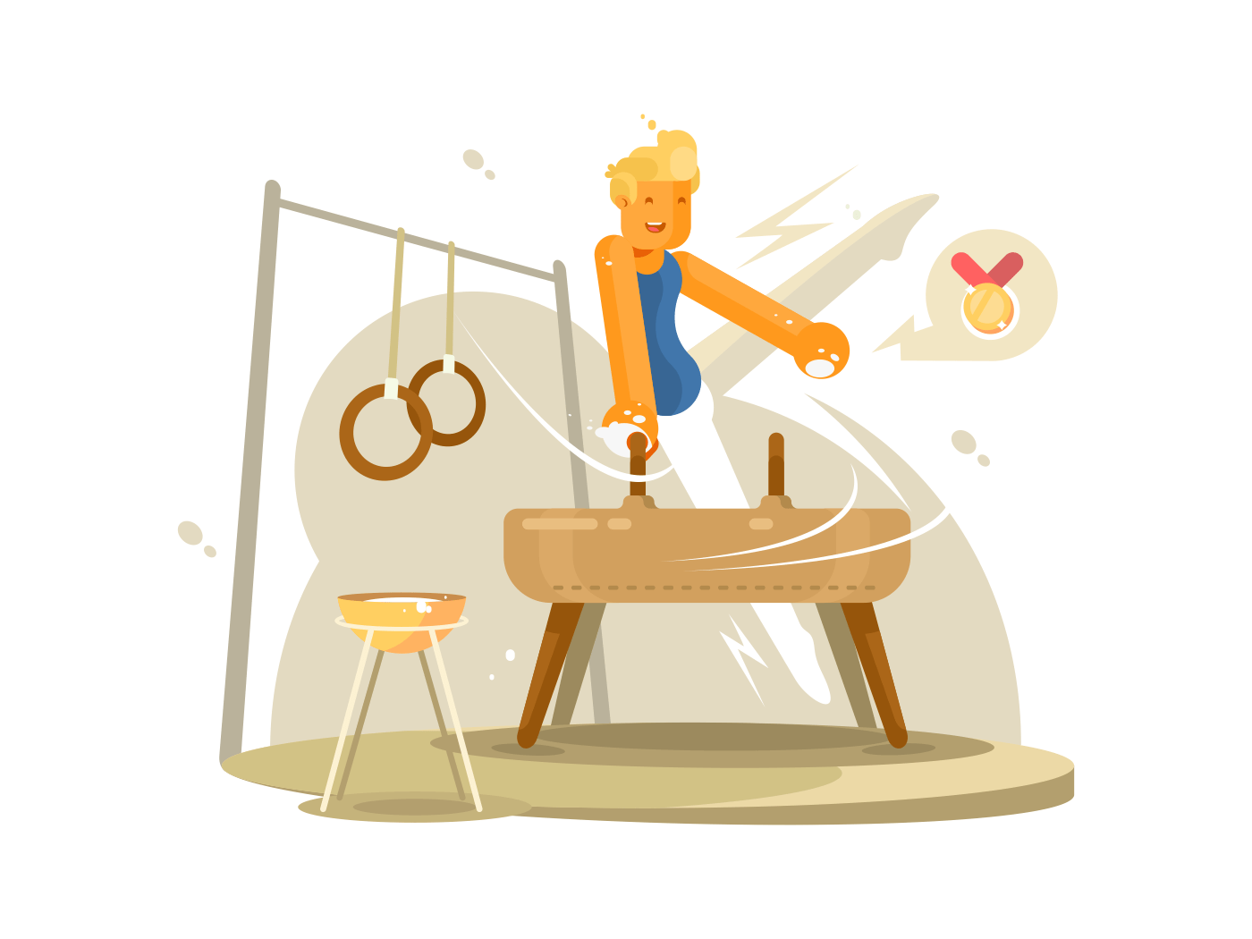 Sports gymnast on log illustration