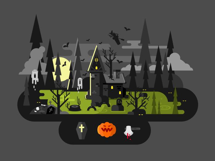 Halloween house at night flat vector illustration