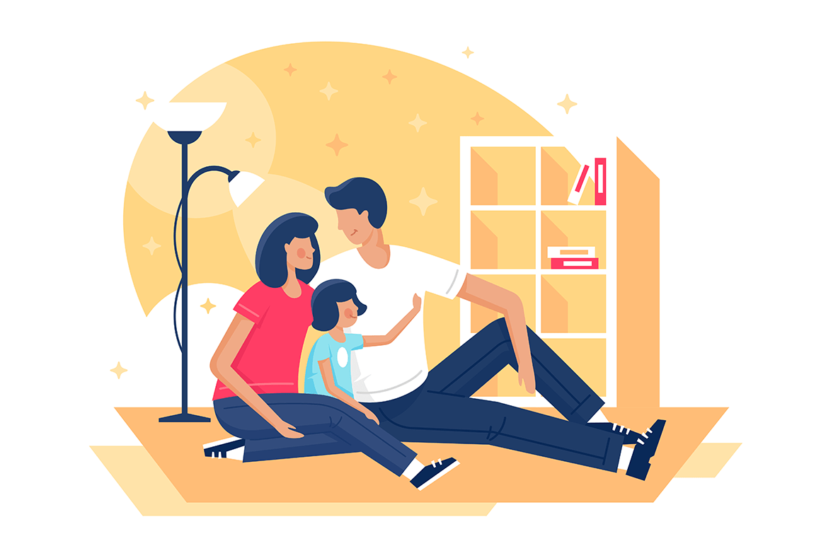 Flat happy family with father, mother and daughter sitting on floor under lamp.