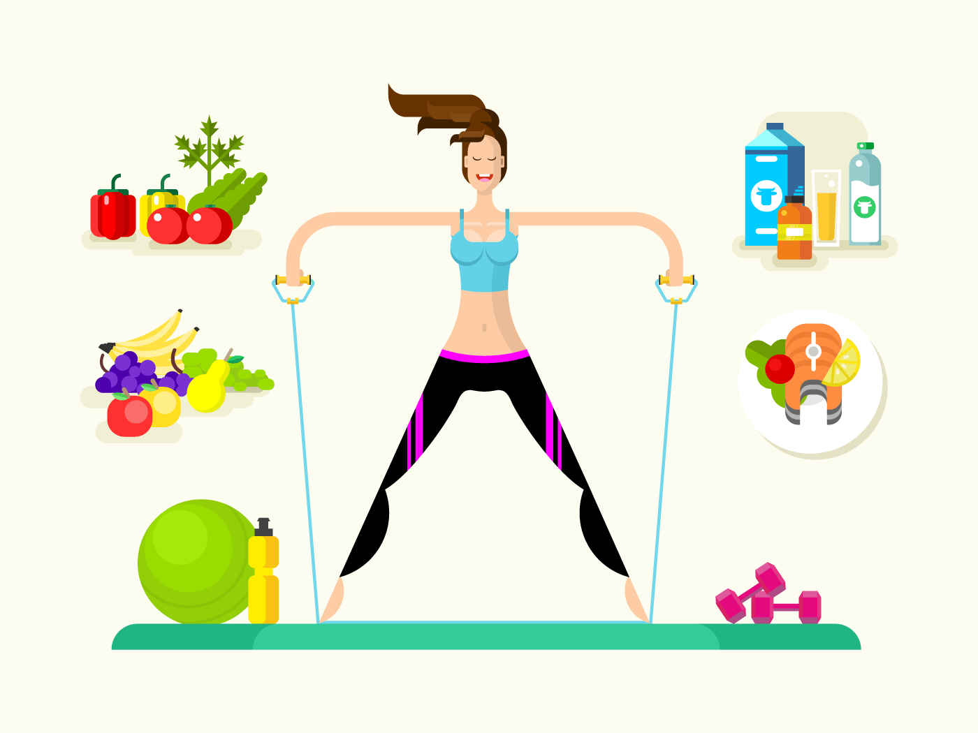 Woman healthy llifestyle flat vector illustration