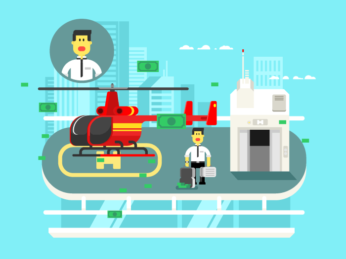 Helicopter on roof with man flat vector illustration