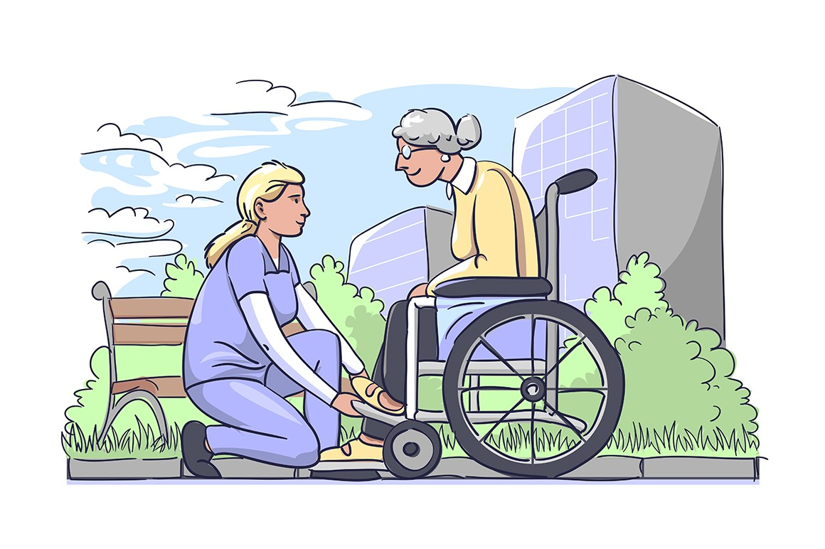 Woman helping older ones in park vector illustration. Nurse with old grandma in wheelchair flat style design. People with disabilities concept. Hospital buildings on background
