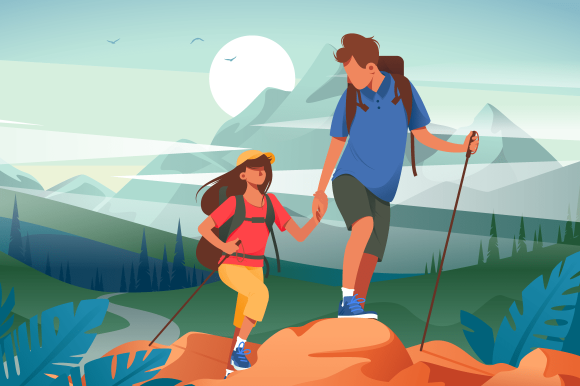 Flat young woman and man couple hiking in mountains.