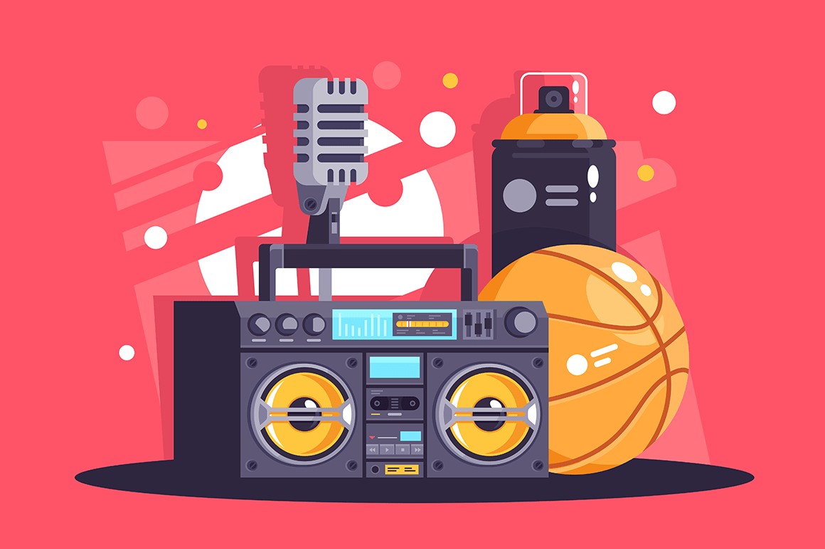 Flat hip-hop equipment with spray, microphone, basketball, boombox.