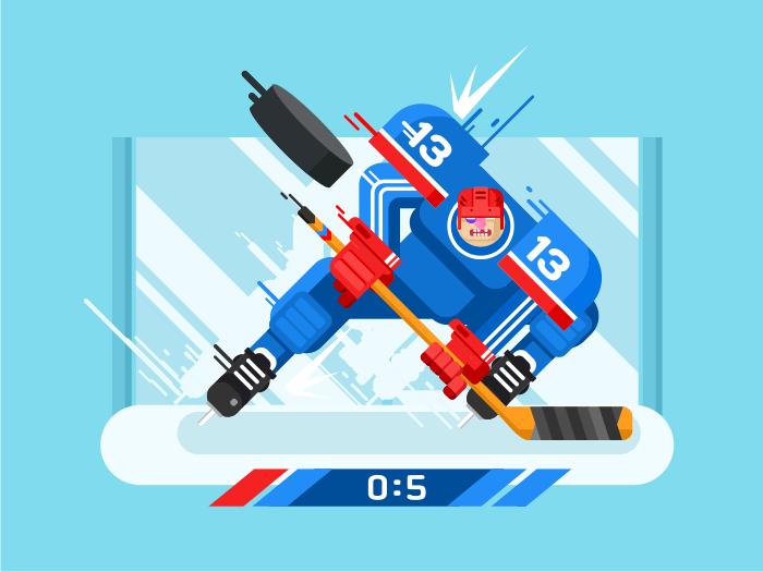 Hockey player character flat vector illustration