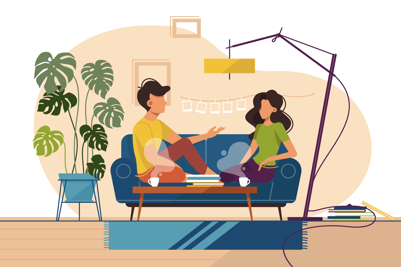 Couple of guy and girl sitting on couch at home