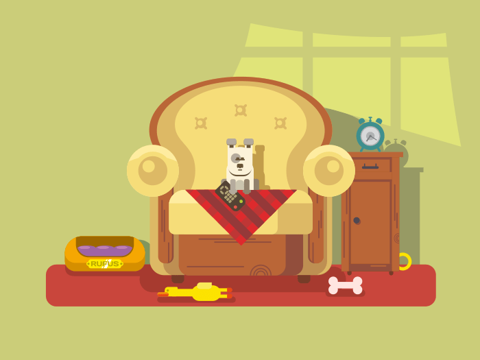 Pet sitting in chair flat vector illustration