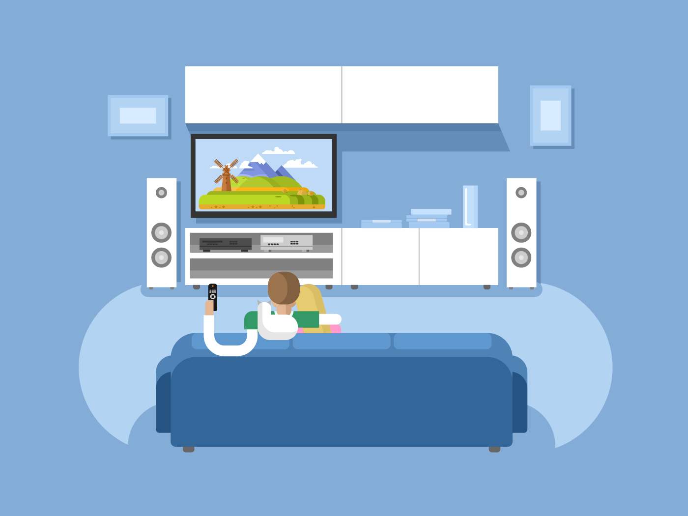Interior home cinema flat vector illustration