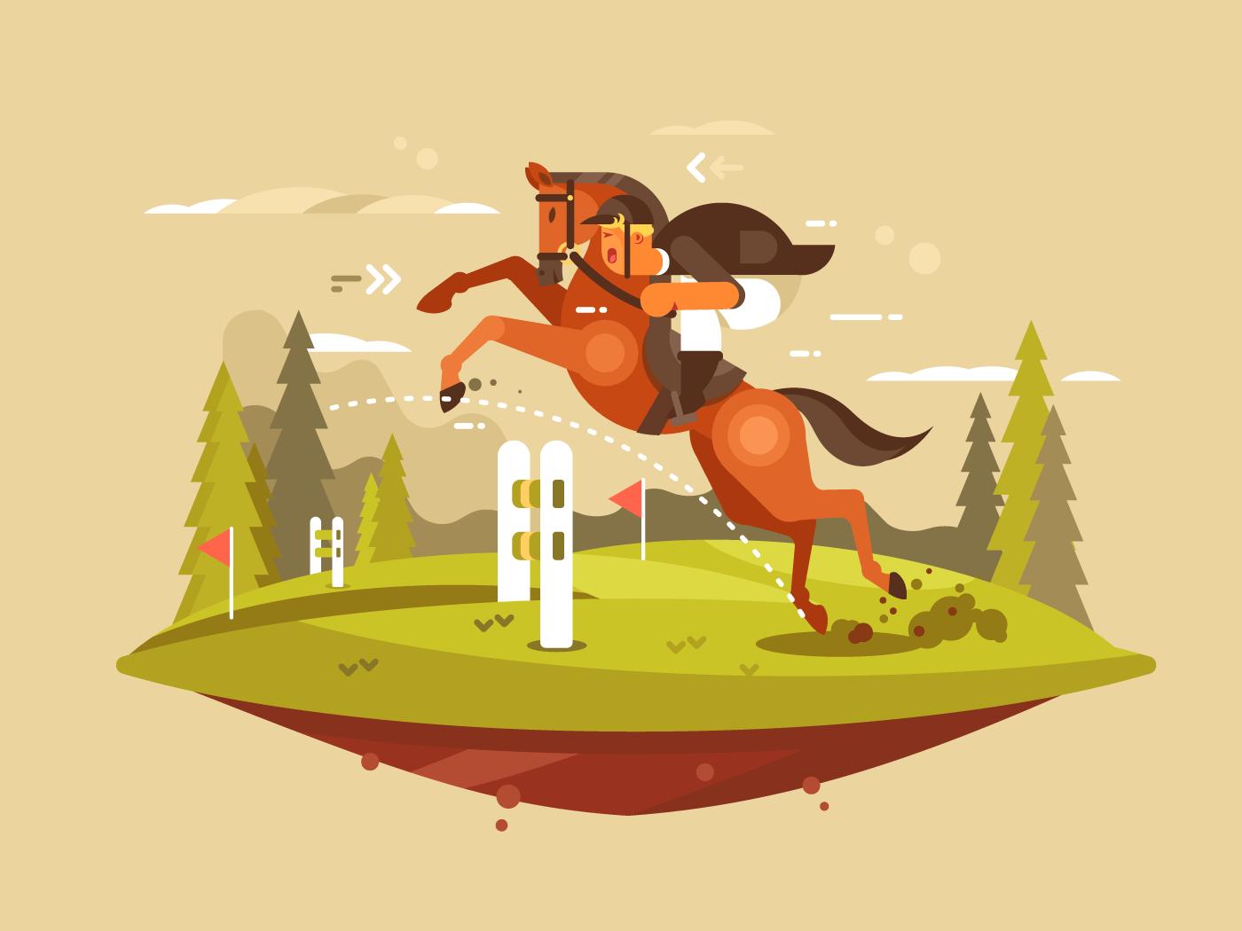 Horse and rider jumping hurdles flat vector illustration