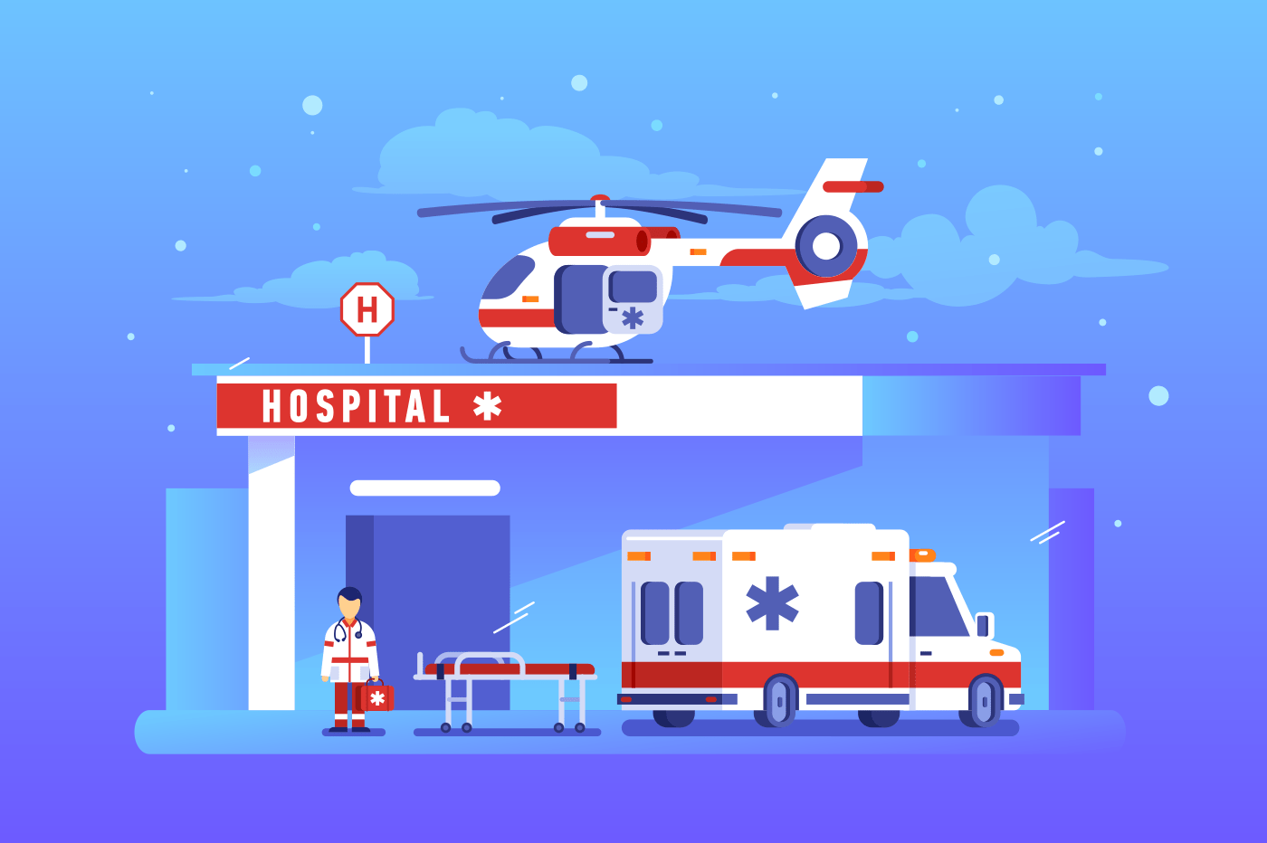Hospital building with ambulance car and helicopter