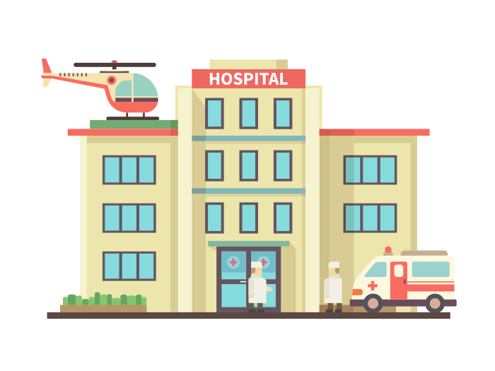 Hospital building flat illustration