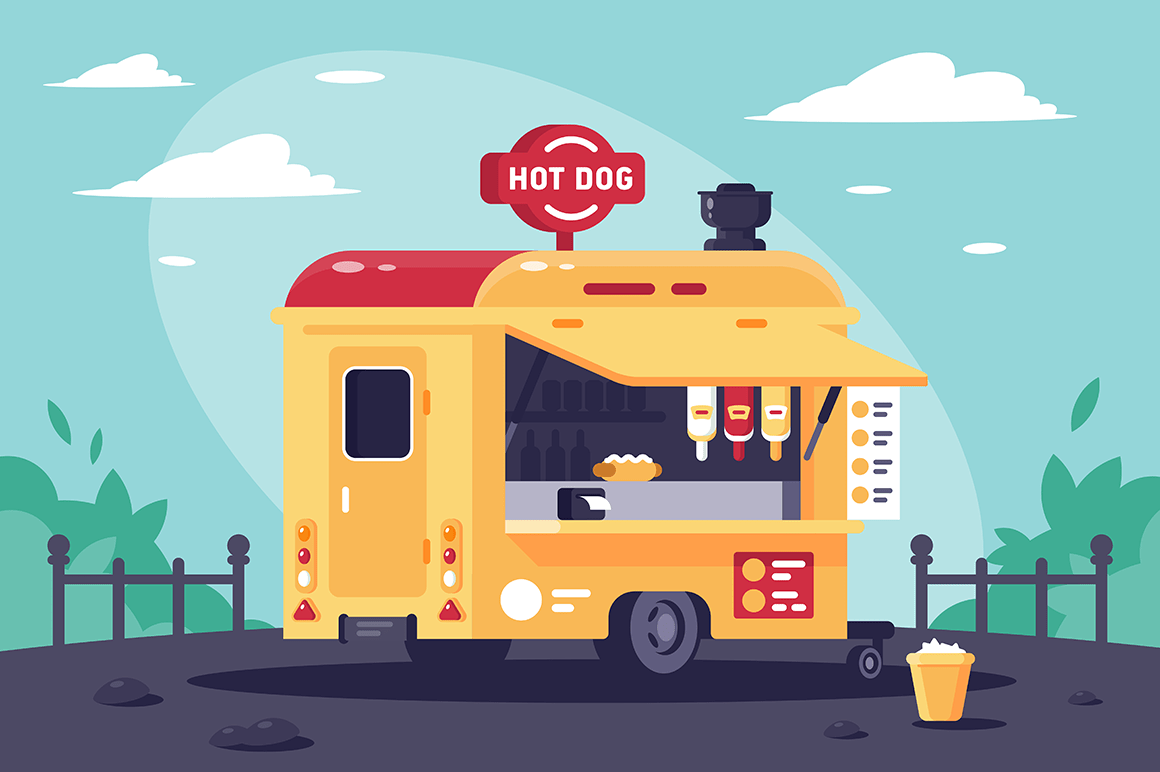 Mobile stall with hot dogs at work in the park.