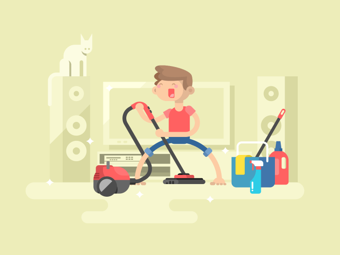 Boy cleaning house flat vector illustration