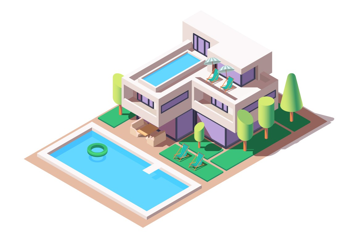 3d isometric big house with modern design and pool.