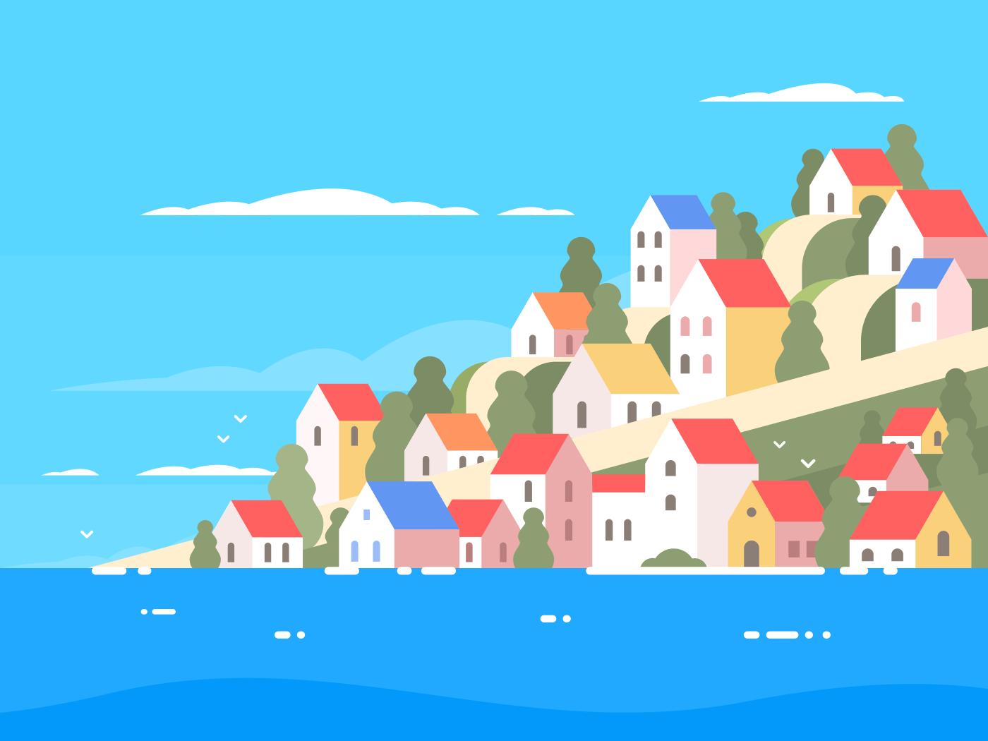Houses on coast of Greece. Sunny sea shore. Vector illustration
