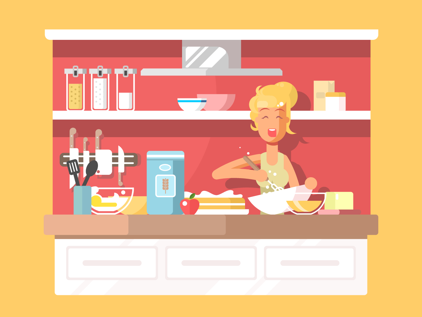 Housewife bakes cake flat vector illustration