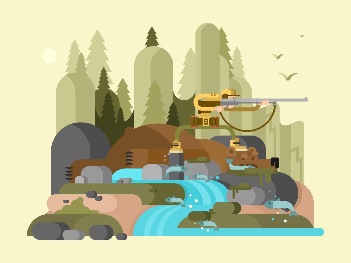 Hunter bear character flat vector illustration