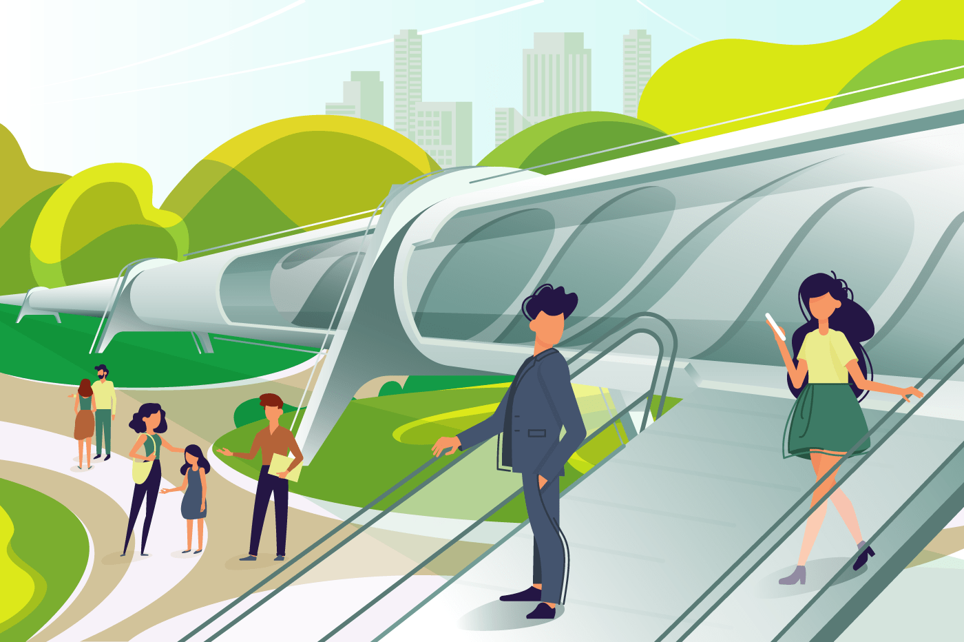 Hyperloop station with people