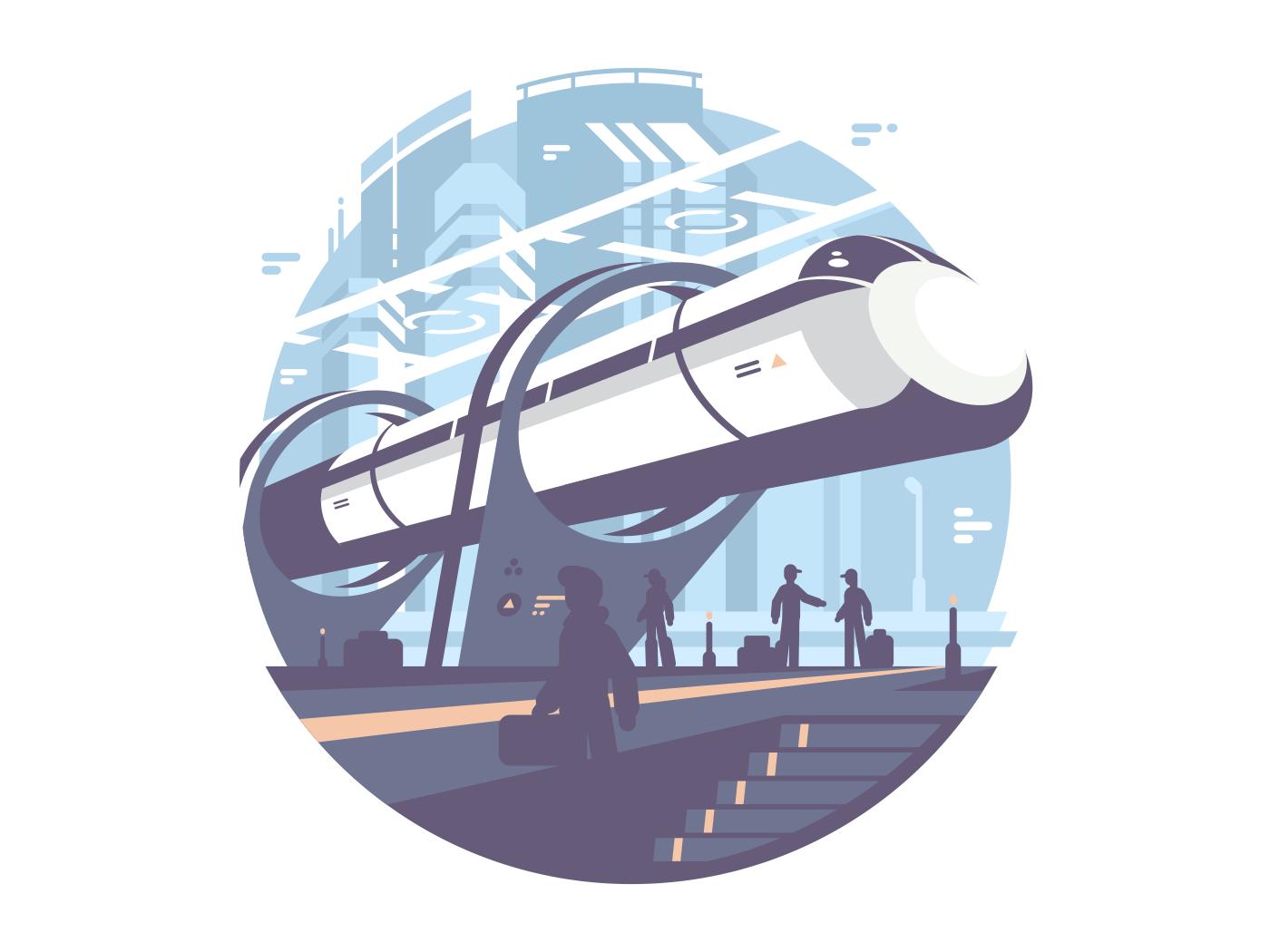Hyperloop newest passenger public express transport train. Vector icon illustration
