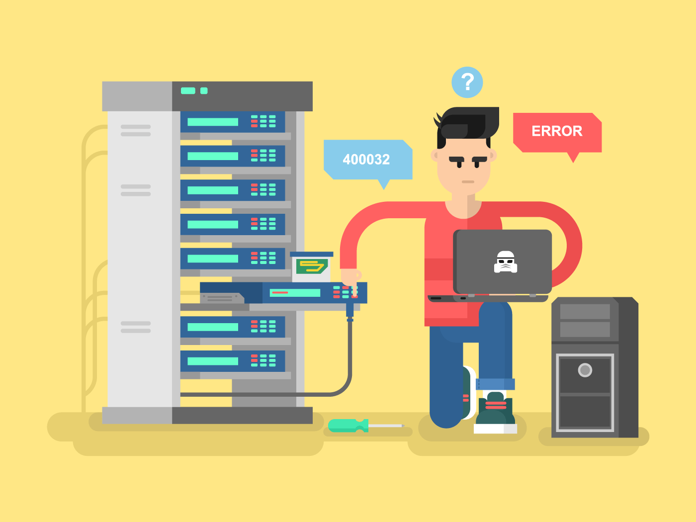IT Specialist network flat vector illustration