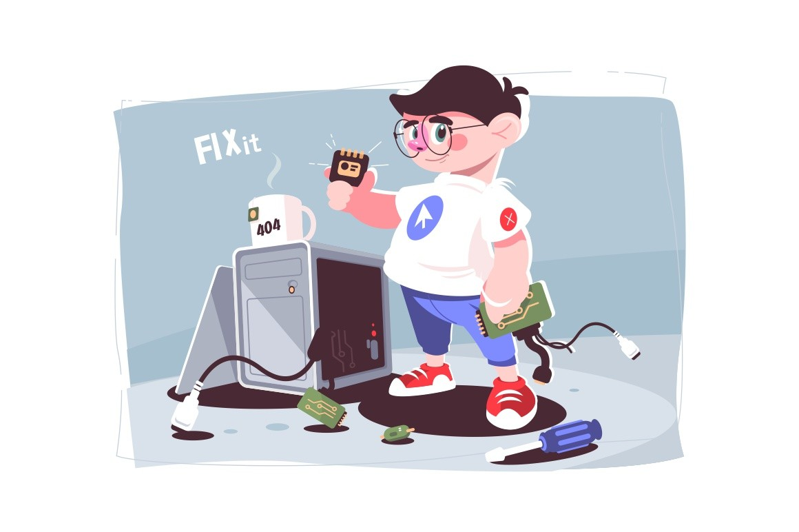 IT male specialist holding computer detail vector illustration. Tools for fixing system block cartoon design. Plug and motherboard on floor. Technology genius concept