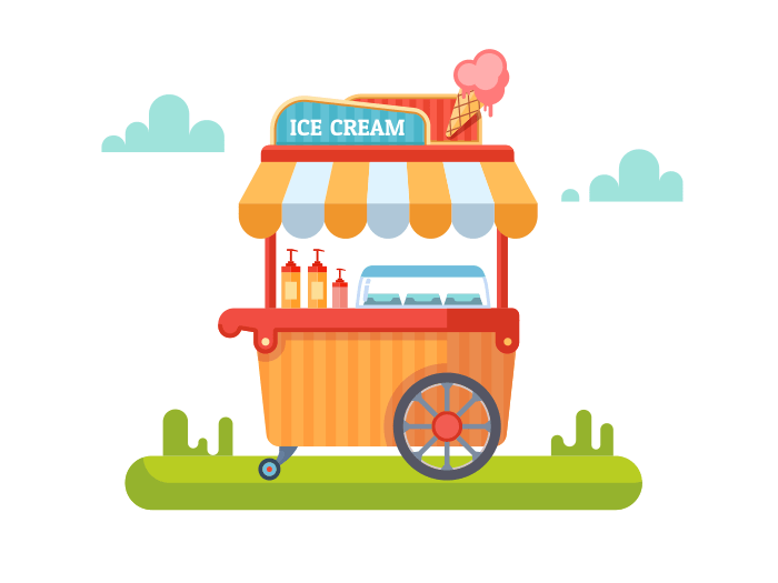 Trolley with ice cream flat illustration