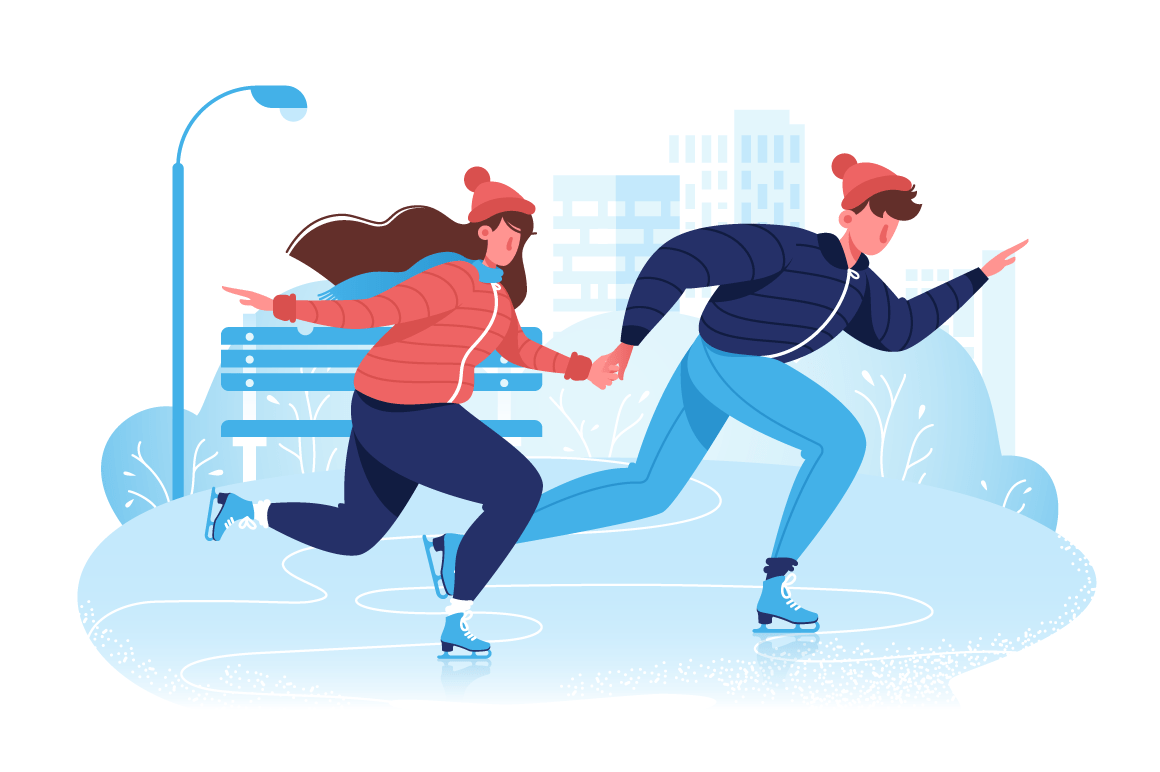 Flat happy couple in winter clothes skating on ice in park.