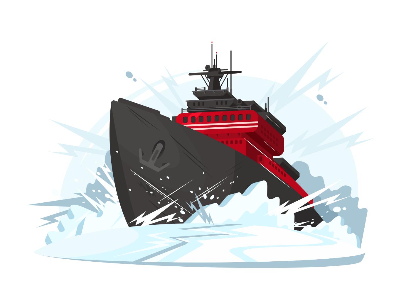Icebreaker breaks ice illustration