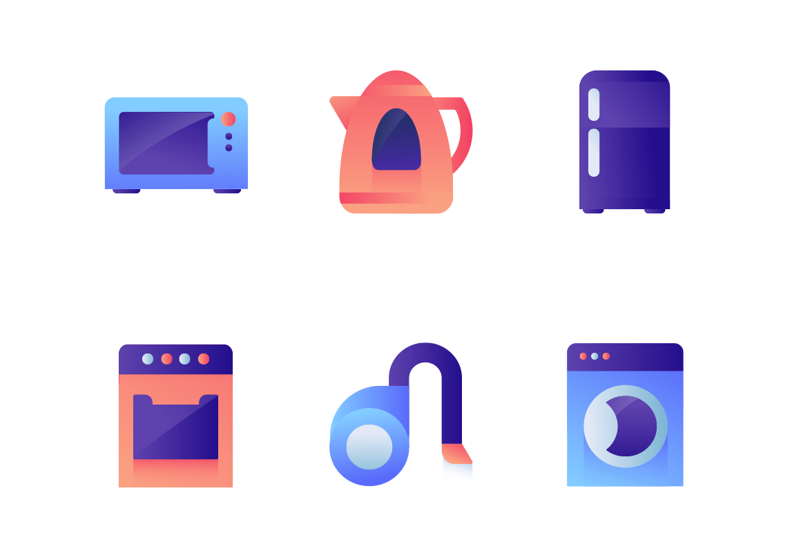 Set icons with washer, teapot, fridge, oven, vacuum cleaner.