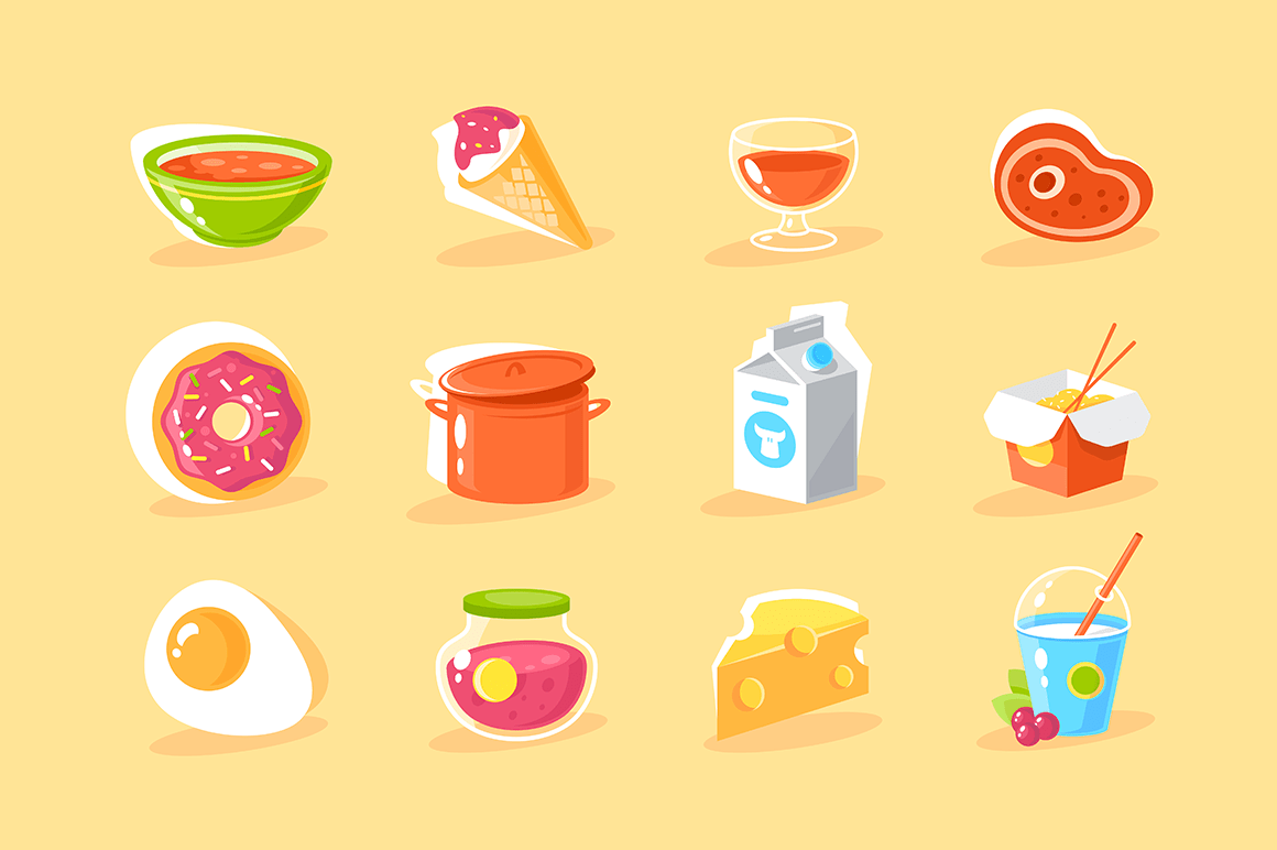 Flat food icon set with egg, milk, donut, chinese noodles, ice cream, cocktail, jam, steak.