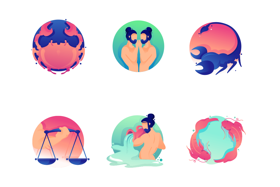 Set flat icons zodiac with virgo, libra, pisces, twins, scorpio and crab.