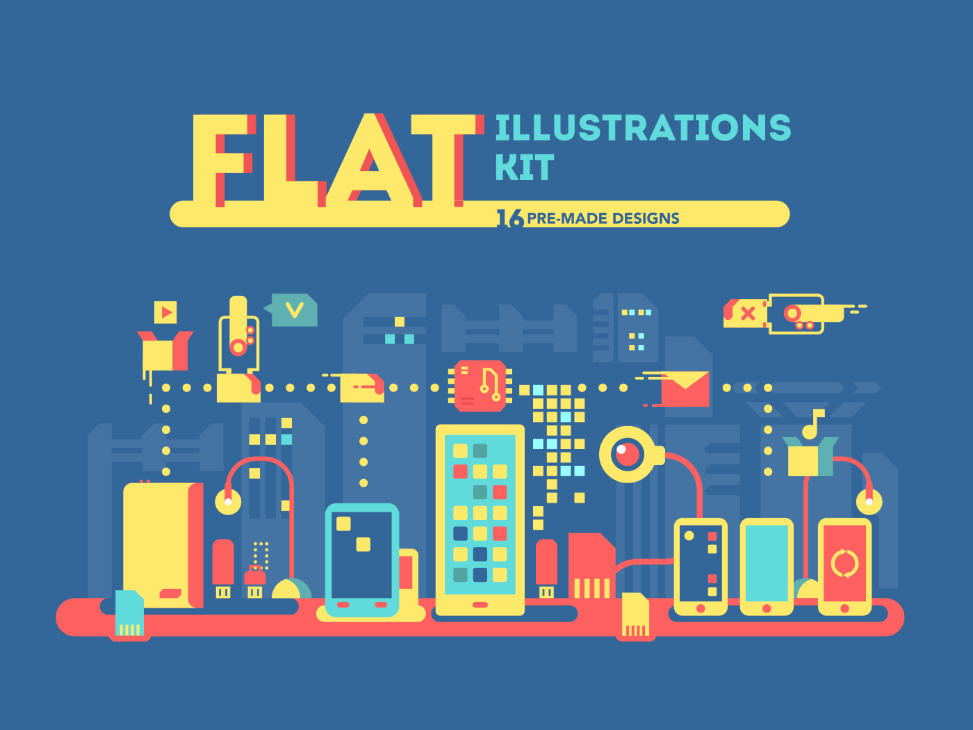 Flat vector illustrations kit