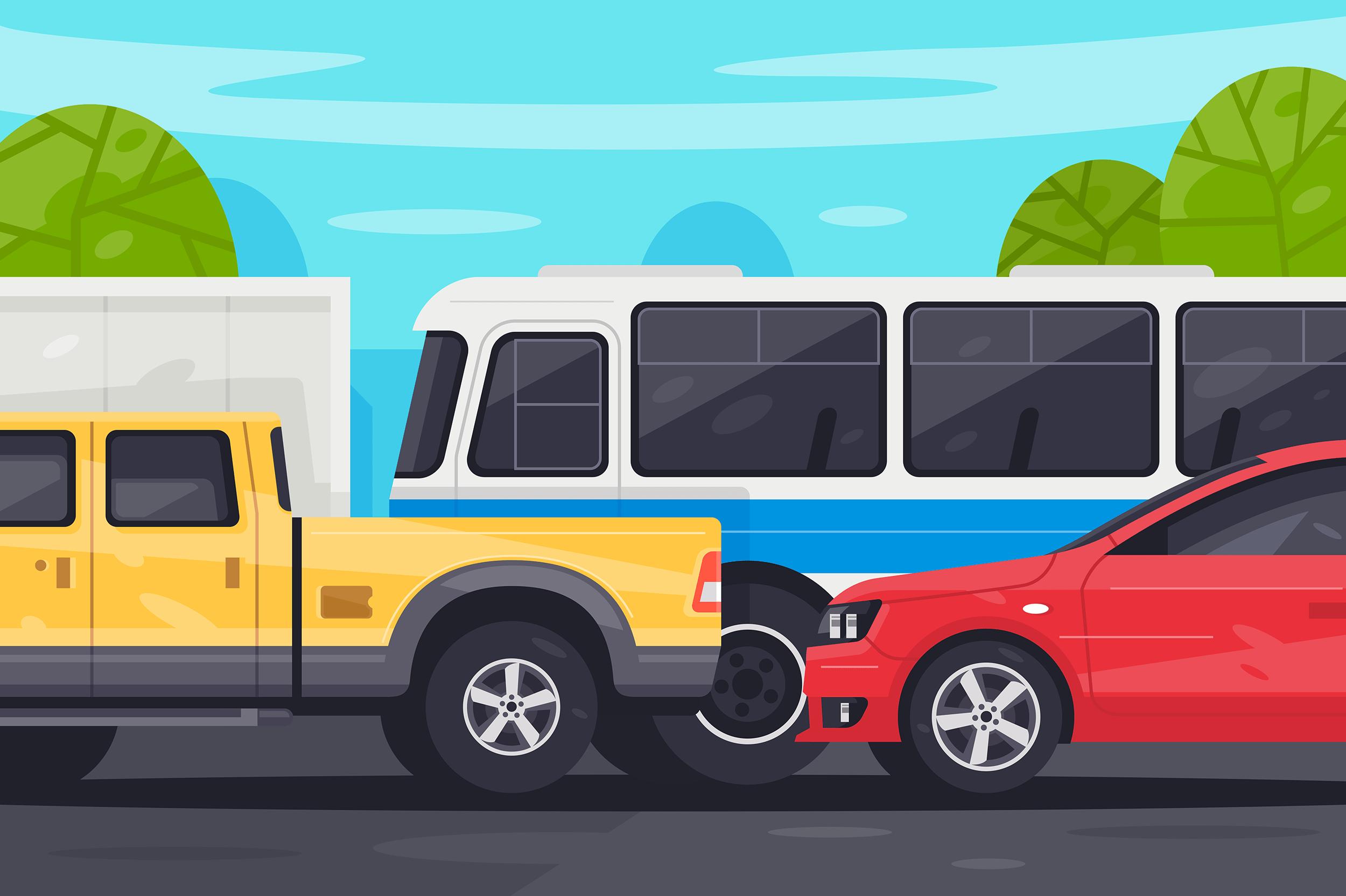Flat bus, pickup, sedan car in traffic jam.
