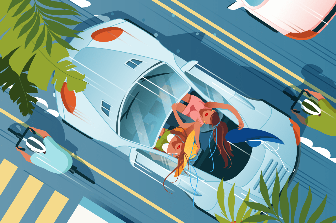 Flat young woman friend in cabriolet car on vacation.