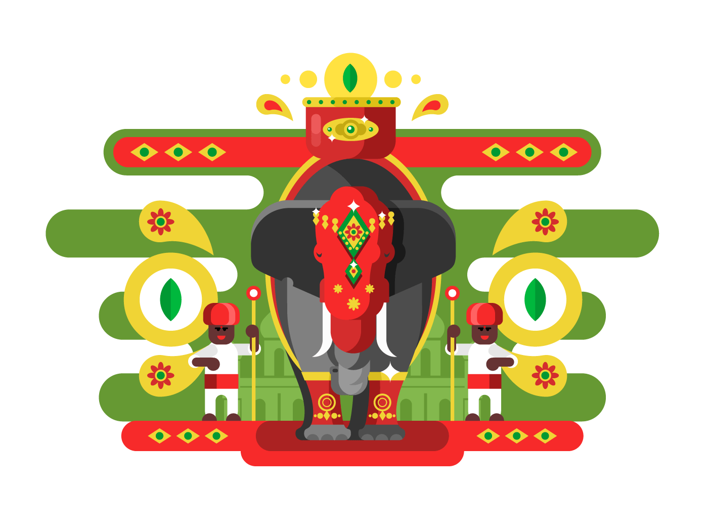 Decorated Indian elephant flat vector illustration