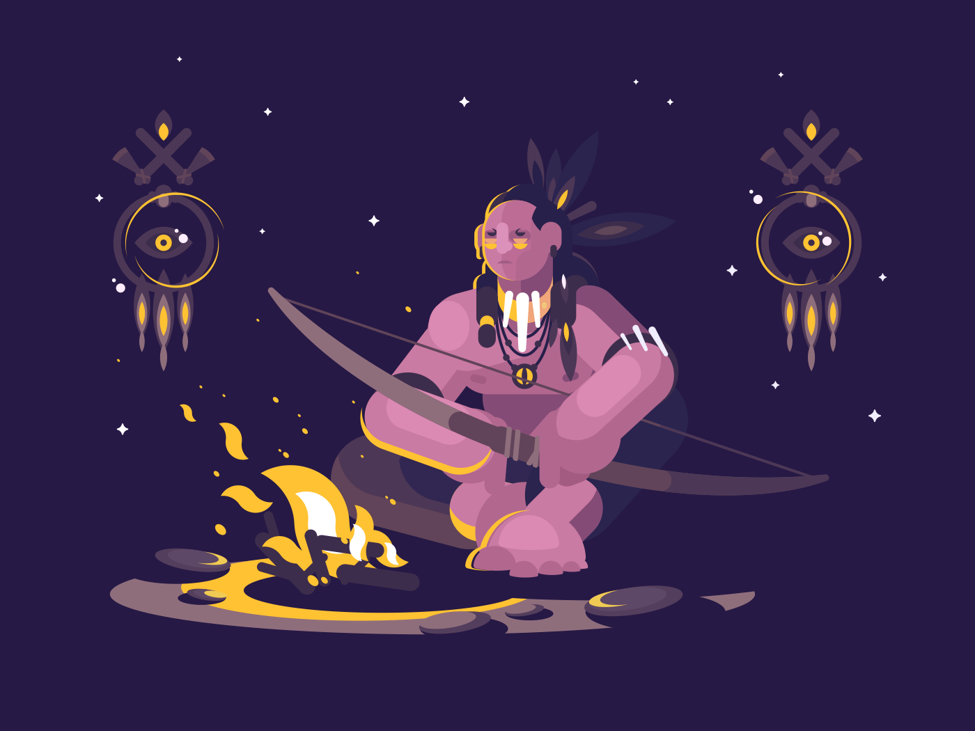 Character indian american with bow sits at night near fire. Vector illustration