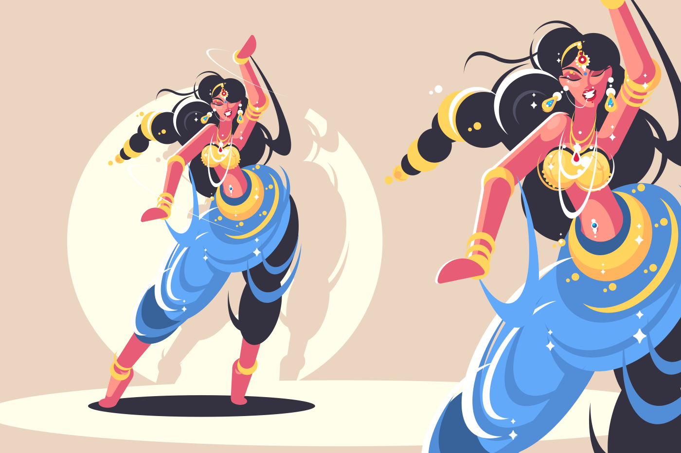 Indian girls traditionally dance in national colored dress. Vector illustration