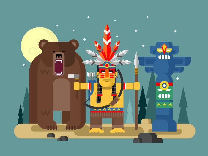 Injun character with bear flat vector illustration
