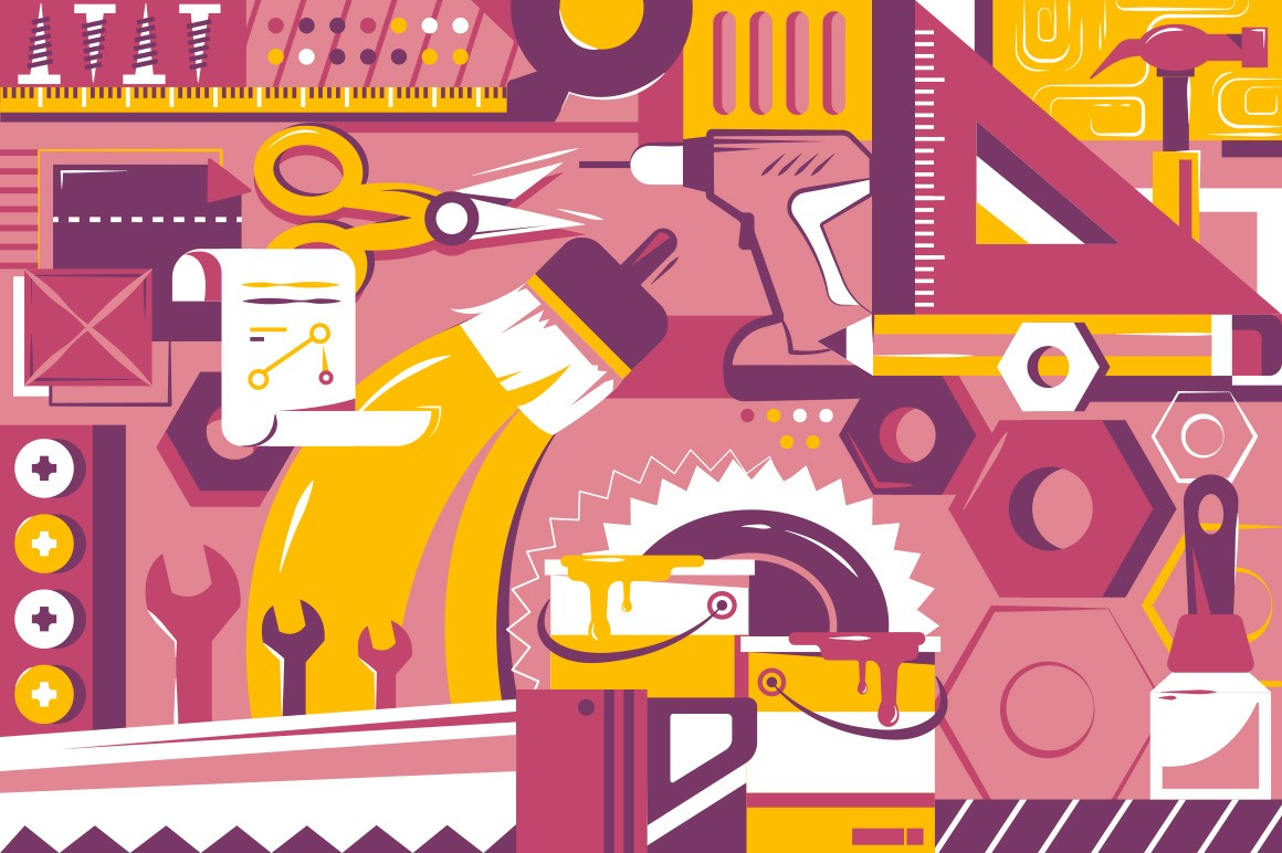 Background of instruments with wrench, paint brush and drawing tools.