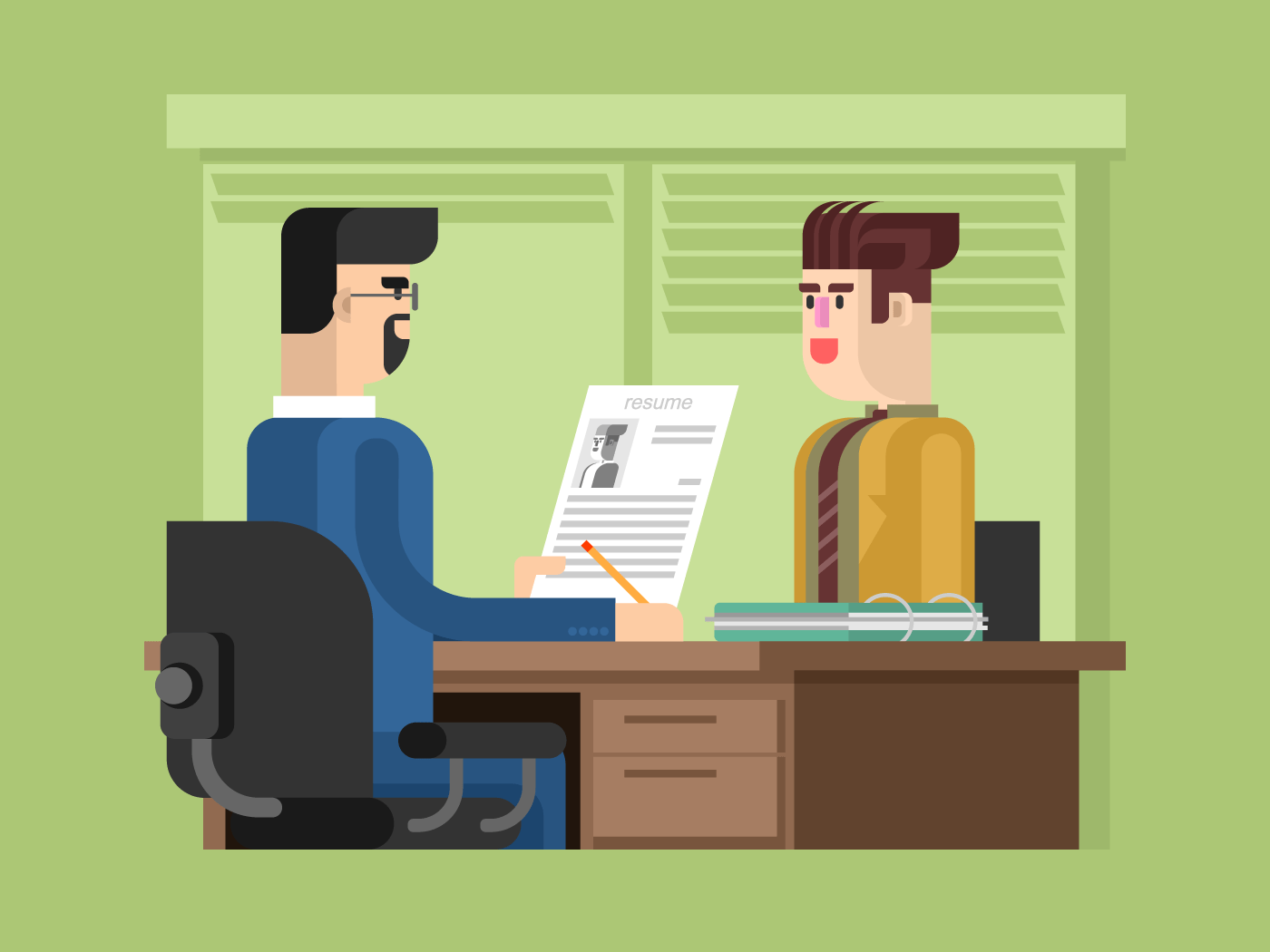 Job interview flat vector illustration