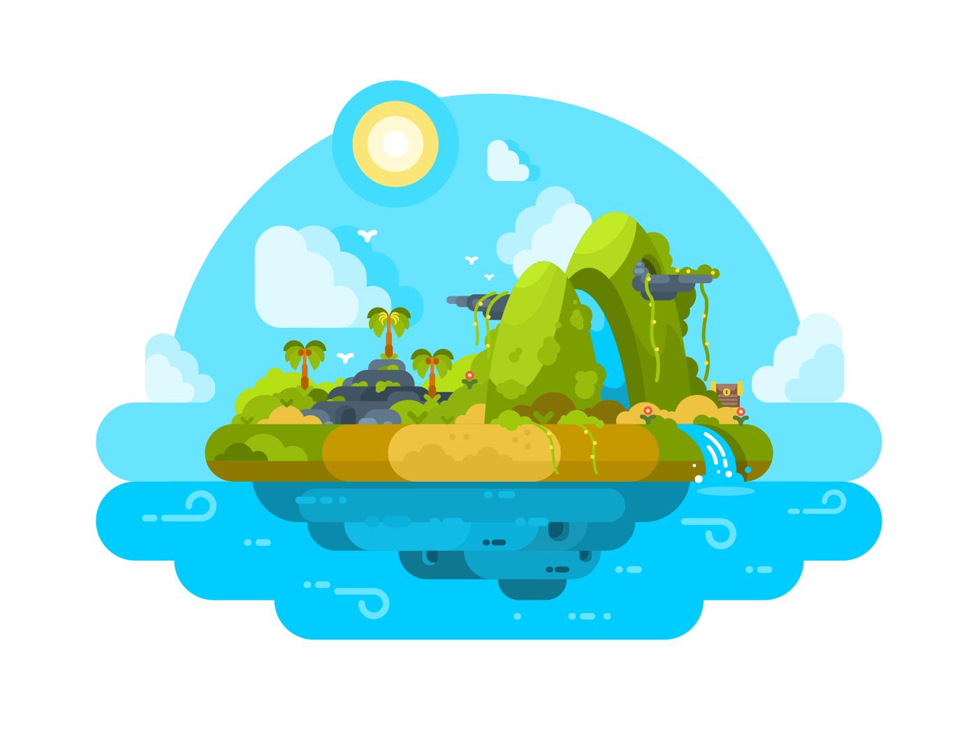 Uninhabited island in ocean illustration