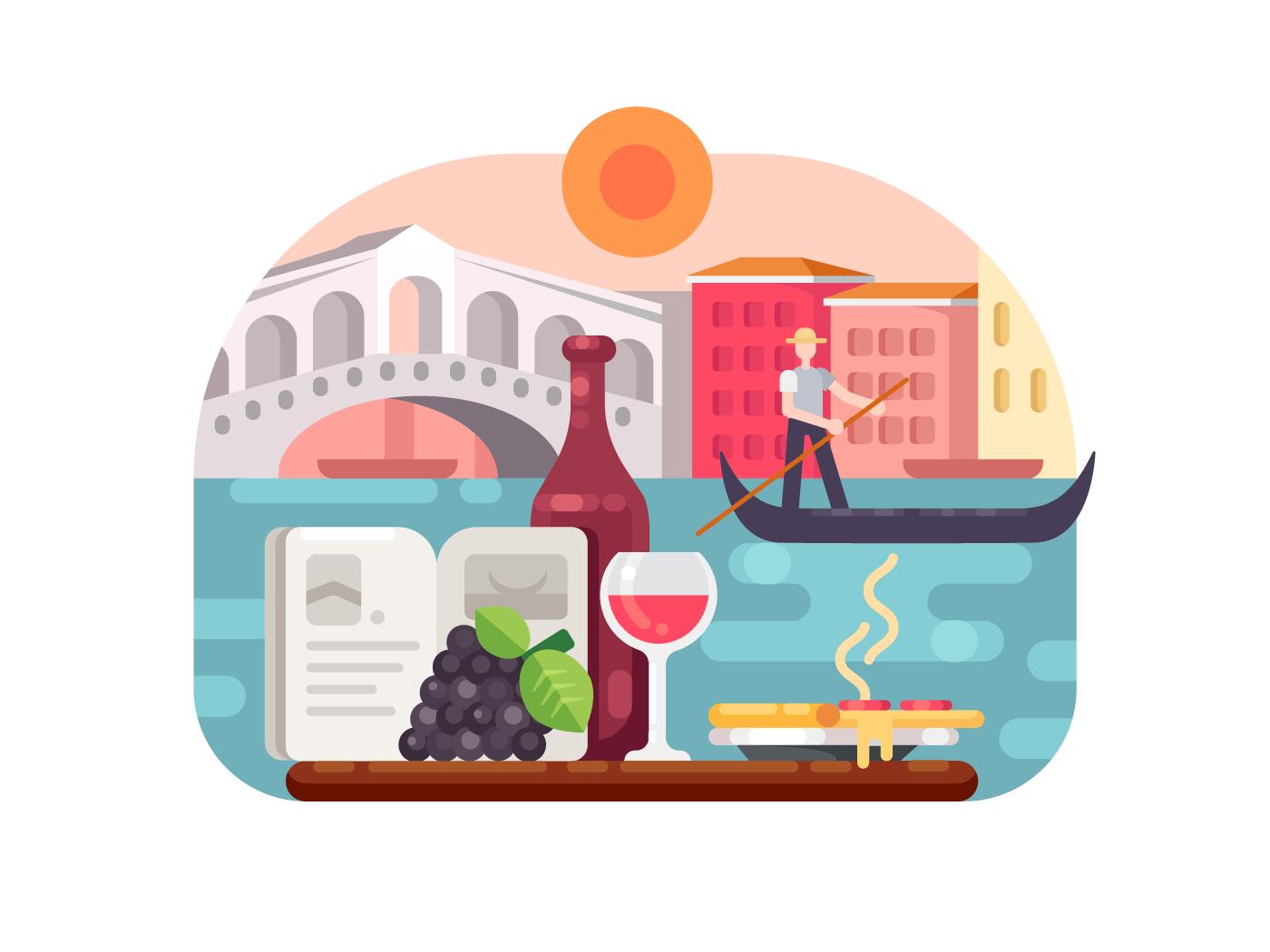 Holidays in italy illustration