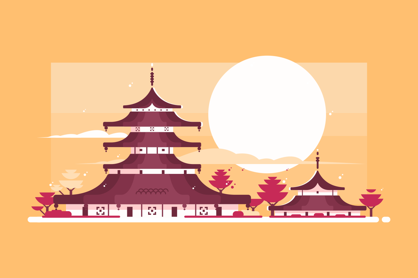 Traditional Japanese house. Asian architecture. Chinese pagoda sunset background. Flat vector illustration