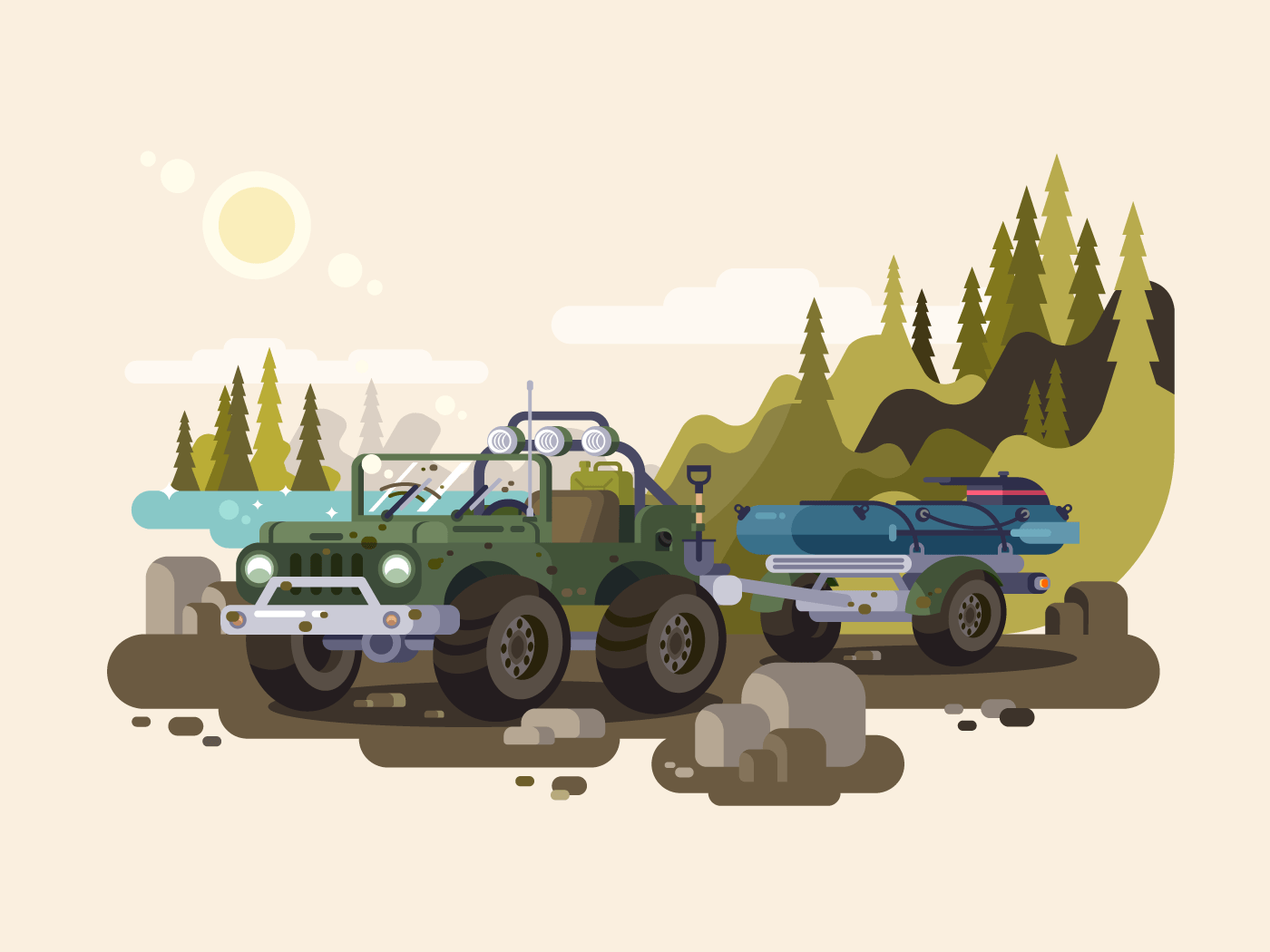 Jeep SUV with boat flat vector illustration
