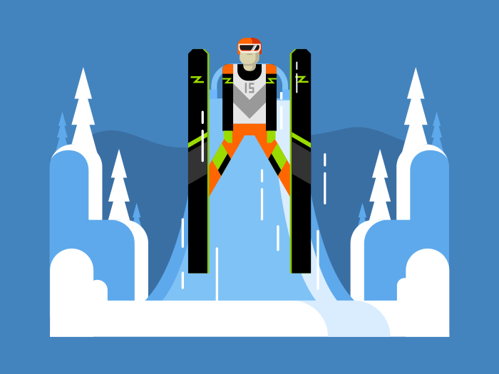 Ski jumping flat flat vector illustration