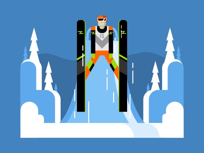 Ski jumping flat flat vector illustration