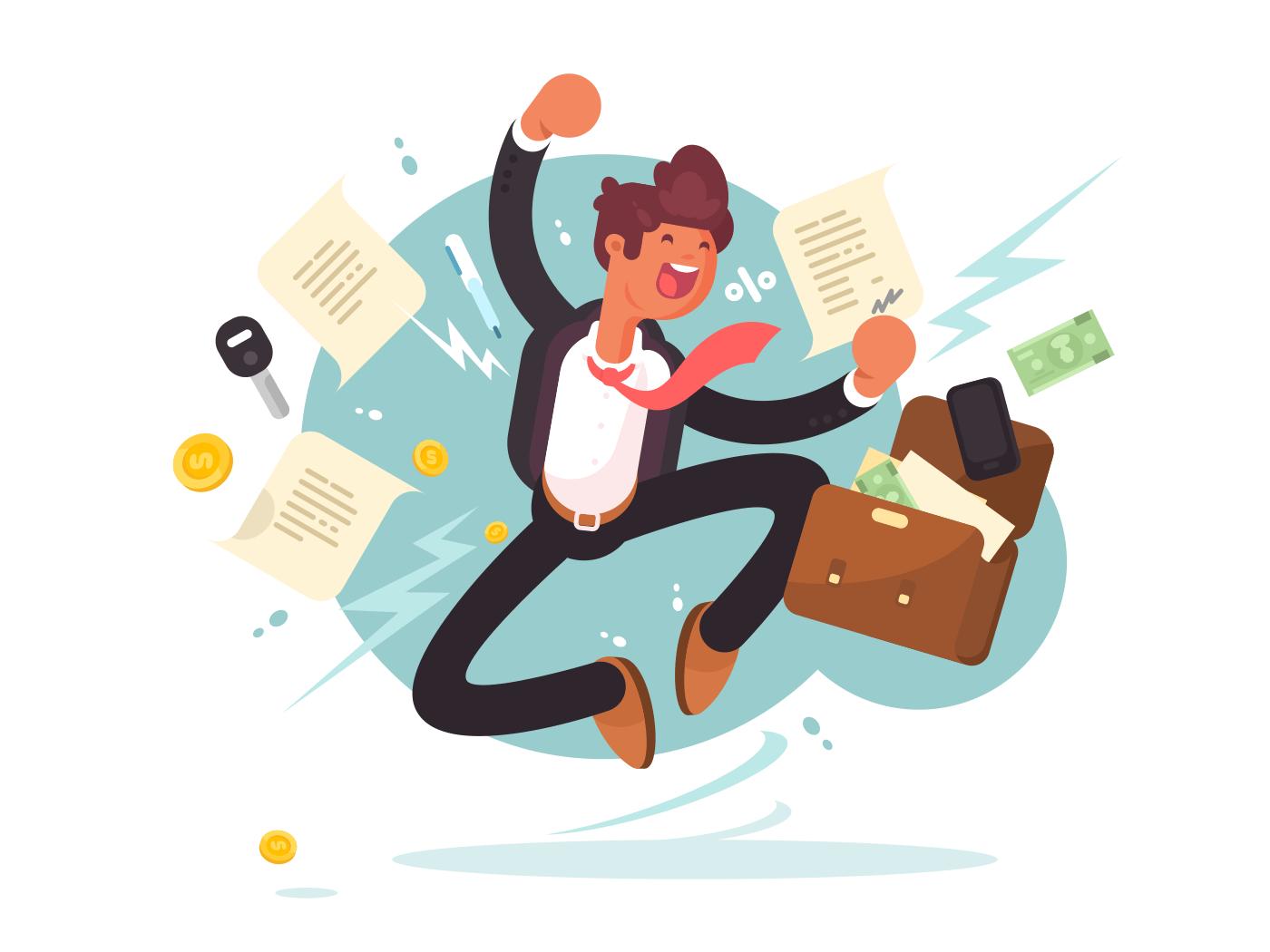 Successful businessman jumping illustration