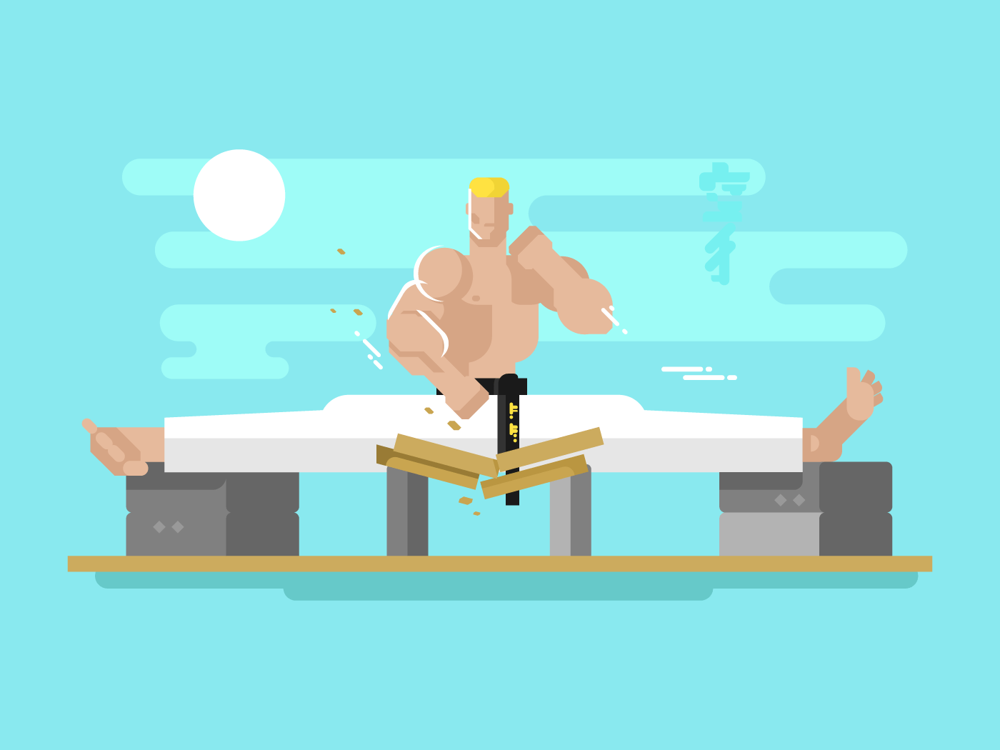 Karate character in the splits flat vector illustration