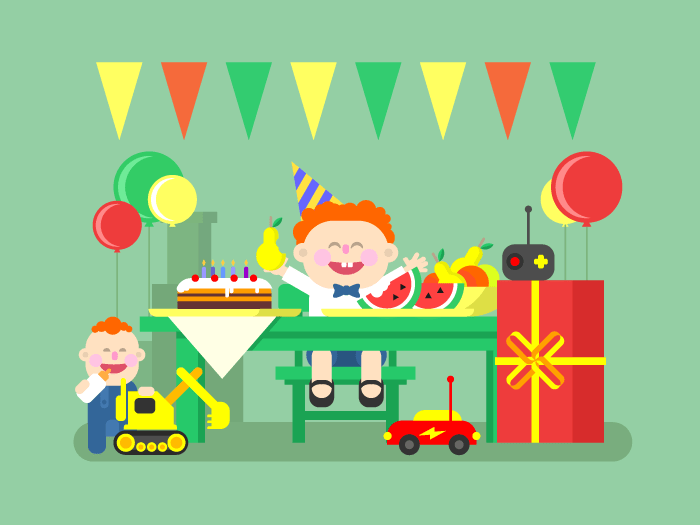 Holiday child birthday flat vector illustration
